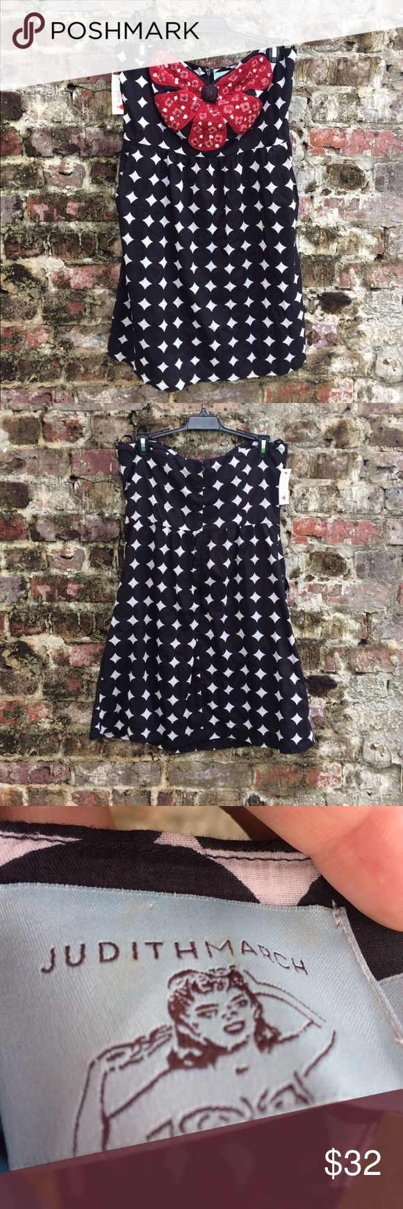 """NWT Judith March strapless dress NWT Judith March """"Talk of the Tailgate"""" strapless dress! Size large, black & white with red flower accent. Judith March Dresses Strapless"""
