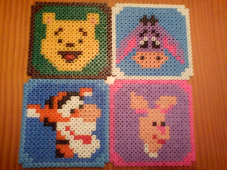 Unique Winnie the Pooh coaster set hama beads by Mundo Caprichos