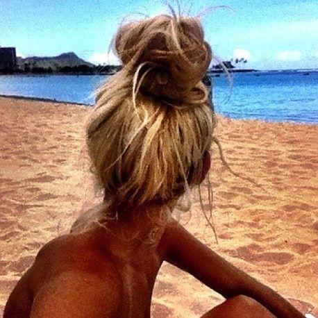 Favorite hair. Messy bun. Beach. Blonde