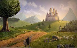Thaddeus maharaj, weg naar het kasteel, velden, heuvels, boom, schommel, rock, bloemen, weg index