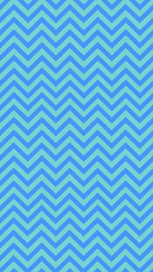 Blue & Turquoise Chevron iPhone Wallpaper