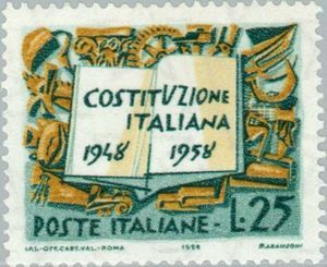 Italian Constitution and symbols of the work