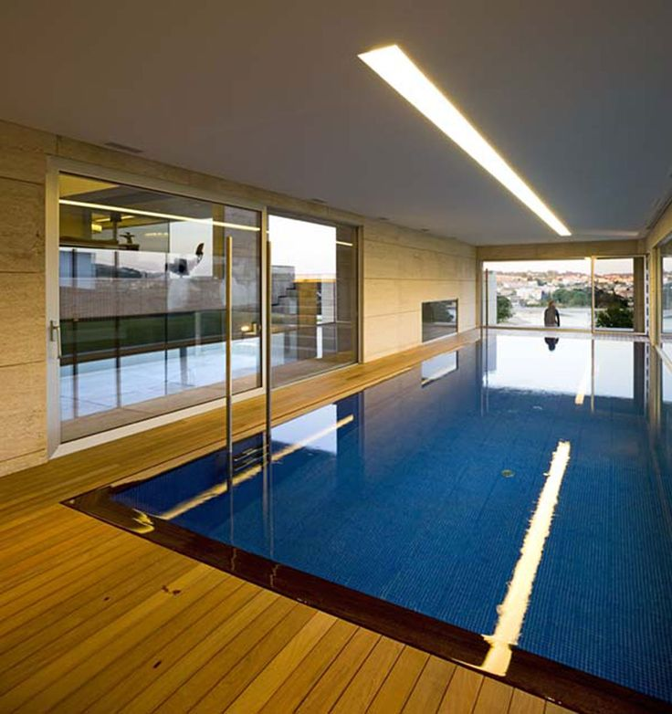 Modern Glass House Design In Cliff Side Of Galicia Spain Indoor Pool