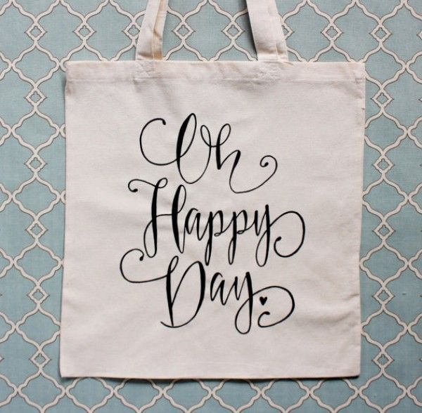 """""""Oh Happy Day"""" tote bag - great wedding party gift!"""