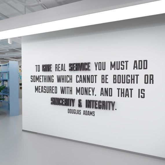 Quote To Give Real Service Inspirational Workplace Productivity Gift Wall Art Mi Art G In 2020 Work Quotes Office Wall Art Workplace Productivity