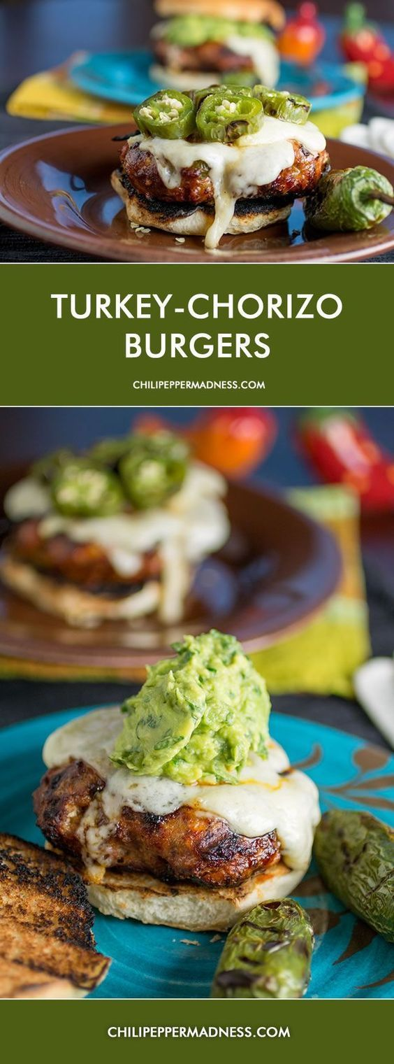 Chorizo Turkey Burger Recipe topped with homemade Extra Creamy Guacamole from ChiliPepperMadness.com