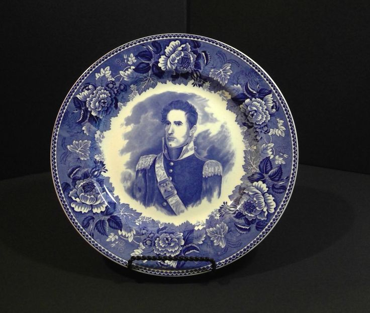 Wedgwood Blue and White Commemorative Plate of William Henry Harrison, President Plate by SpencersStuff on Etsy