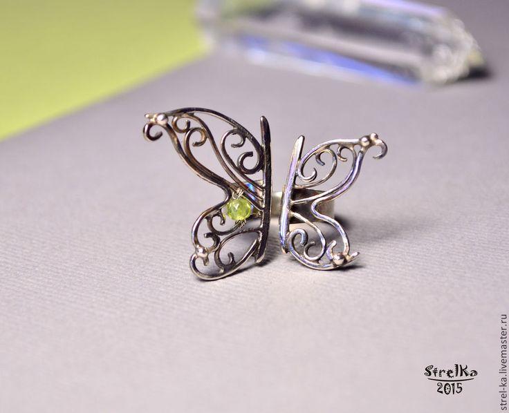 Купить Кольцо Бабочка (нейзильбер, серебро, хризолит) - wire wrap, wrap, wire, strelka, подарок