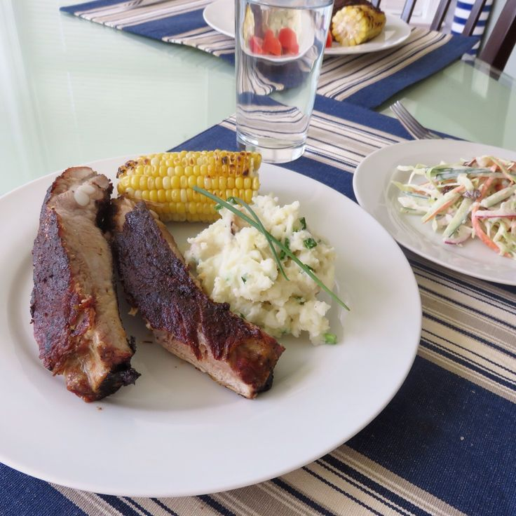 Today's Dinner-Pork rib, Coleslaw and Roast garlic & chive mashed potato