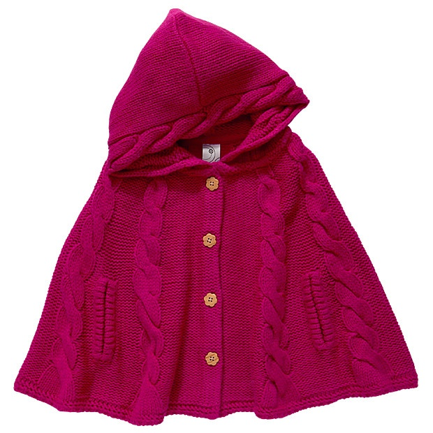 This girls' cable hooded poncho features a flower button down front. Perfect for layering on those cooler days!