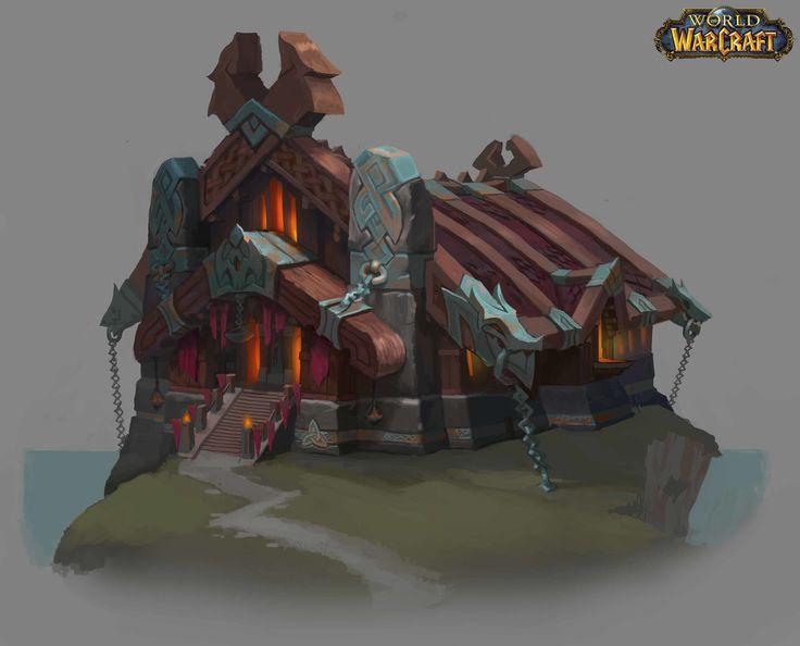 Vrykul Building Concepts for World of Warcraft, Ishmael Hoover on ArtStation at https://www.artstation.com/artwork/Bw1oD