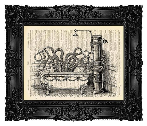 BATHROOM ART Octopus in Victorian Bathroom On An Vintage Dictionary Page Antique Dictionary french Mixed Media 78