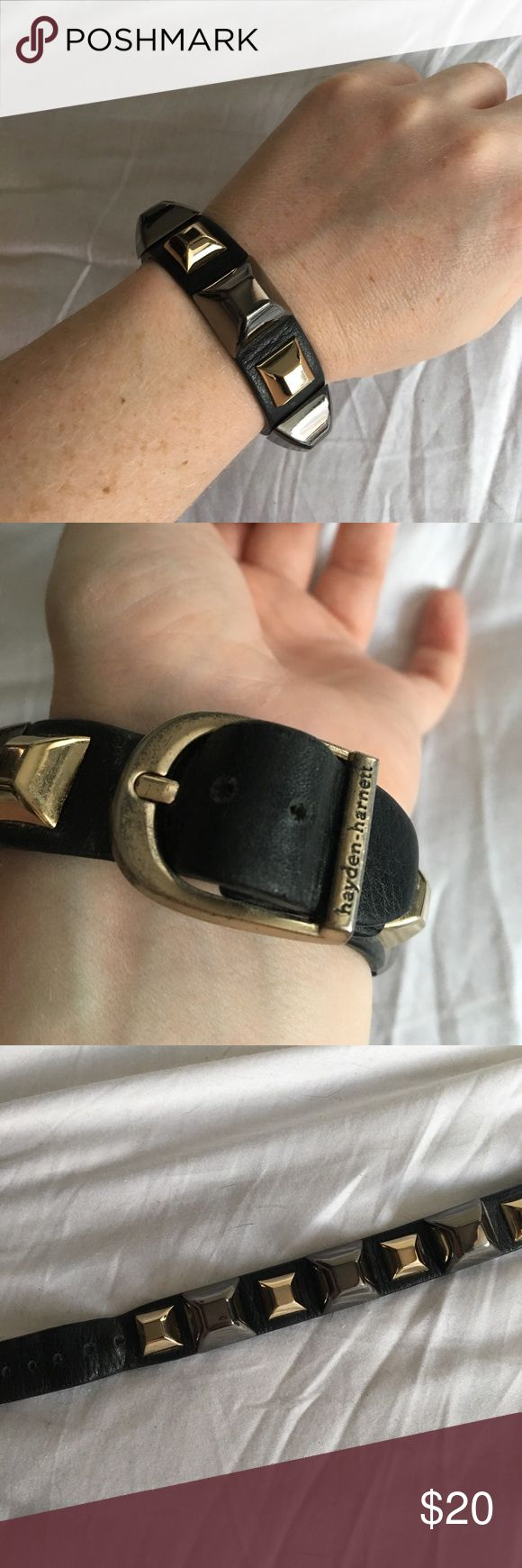 Leather Hayden-Harnett cuff Black leather studded Hayden-Harnett cuff. Tarnishing in the buckle and the underside of the studs. I will polish before shipping!! Hayden-Harnett Jewelry Bracelets