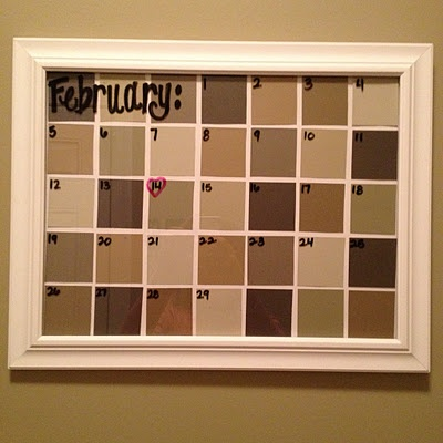 DIY calander using paint sample cards inside a picture frame so you can use a dry erase marker to remember specific dates! Change the paint samples to match your room or holiday! #17college