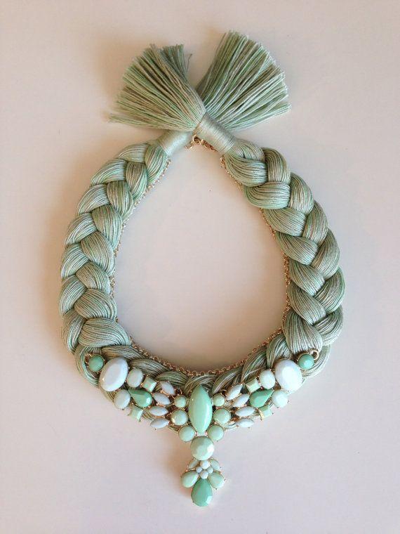 Green Pastel Melange Statement Bib Hand made by stukaLOVAjewelry, $45.00