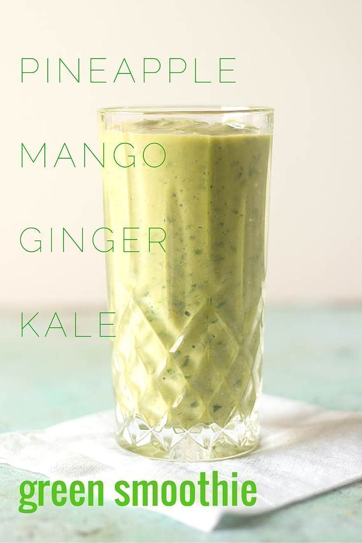 Pineapple Mango Ginger Green Smoothie. A bright green kale smoothie with tropical fruit, ginger, probiotics from kefir. A perfect way to start the day. From Blossom to Stem   Because Delicious   http://www.blossomtostem.net