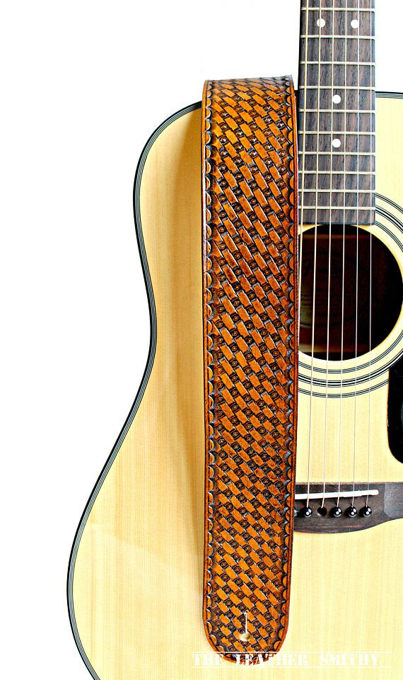 Hand Stamped Traditional Basket Weave Tan Leather Guitar Strap #TraditionalLeatherCraft #HandTooledGuitarStraps #GutiarStraps