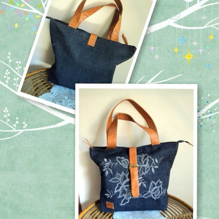 d`ep bag,leather and embroidery,fabric :denim..sale