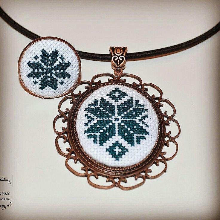 Кулон и кольцо с микровышивкой handmade