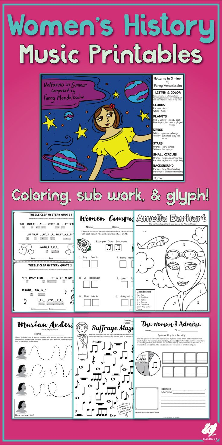 worksheet Music History Worksheets 1000 ideas about music worksheets on pinterest teaching great for womens history month with color by note a