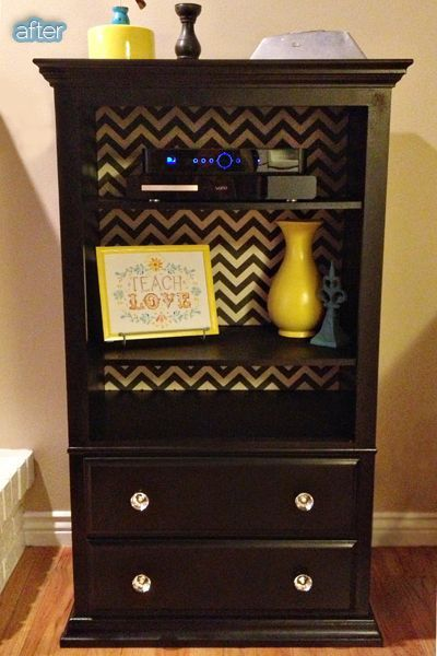 dresser with missing drawers, add shelves, wall paper inside. Very cute! - sublime decor
