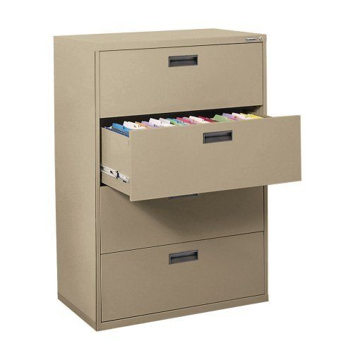 """Sandusky 400 Series Tropical Sand Steel Lateral File Cabinet with Plastic Handle, 30"""" Width x 53-1/4"""" Height x 18"""" Depth, 4 Drawers by Sandusky Lee. $577.82. 400 Series lateral file cabinets. Full drawer extension on genuine progressive telescoping ball-bearing slides provide smooth, trouble-free operation. Built-in drawer interlock system prevents more than one drawer from opening at a time, reducing the chance of cabinet tip over. Single lock system secures all drawers with..."""