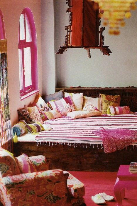 Boho pink: Love the floral chair.