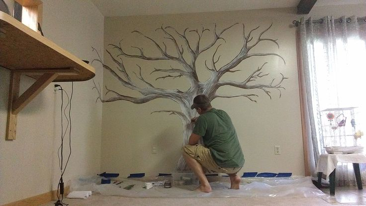 Hand painted family tree mural wall art pinterest for Bedroom mural painting
