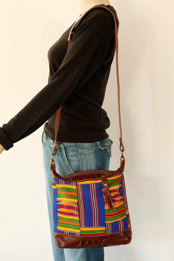 Leather cross body bag with Kente cloth by ChameleonGoods