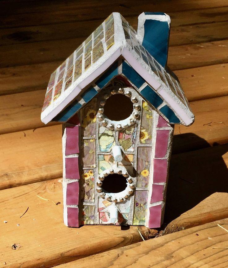 Asian birdhouse, mosaic birdhouse, shabby chic birdhouse, mixed media birdhouse by JayKayBeecreations on Etsy https://www.etsy.com/listing/544239862/asian-birdhouse-mosaic-birdhouse-shabby
