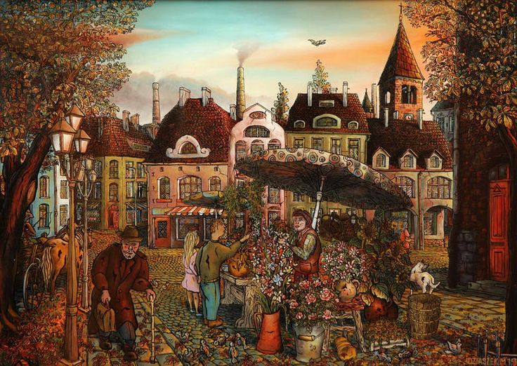 "Marek Idziaszek ""Kwiaciarka"" ""Florist"" oil painting on glass"