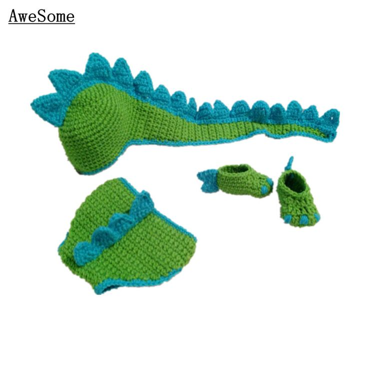 Crochet Dinosaur Hat And Diaper Cover Pattern : Cute Crocheted Green Dinosaur Set,Baby Boy Girl Animal Hat ...