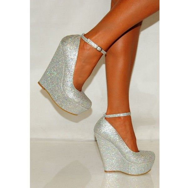 Ladies Silver Glitter Shimmer Wedges with Ankle Strap ❤ liked on Polyvore featuring shoes, heels, sapatos, ankle tie wedge shoes, silver platform shoes, silver metallic shoes, ankle tie shoes and silver wedge shoes