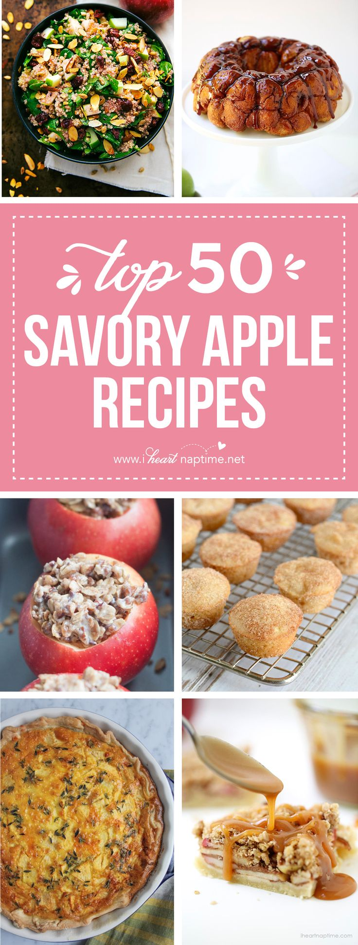 Top 50 Apple Recipes... a wonderful list of savory apple dishes from stuffed chicken, cranberry apple quinoa salads, carrot apple slaw all the way to apple gouda grilled cheese.