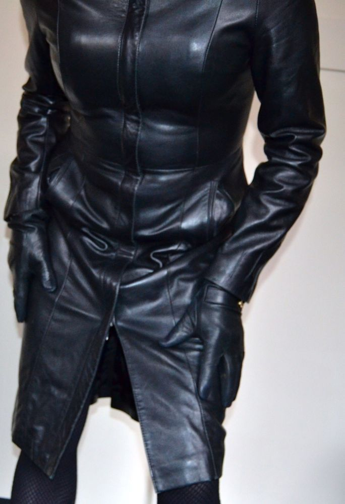 FANTASTIC AND VERY SEXY BLACK LEATHER COAT DRESS MISTRESS DOMINA FETISH  TV CD  fashion  clothing  shoes  accessories  womens…  41a0949ff