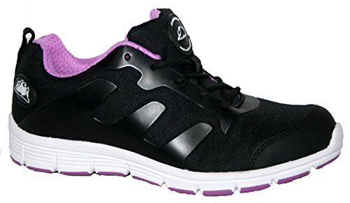 e1567e2150935a From 28.00 Ladies Groundwork Steel Toe Cap Saftey Ultra Light Weight Lace  Work Trainer Shoes (5 Black lilac)