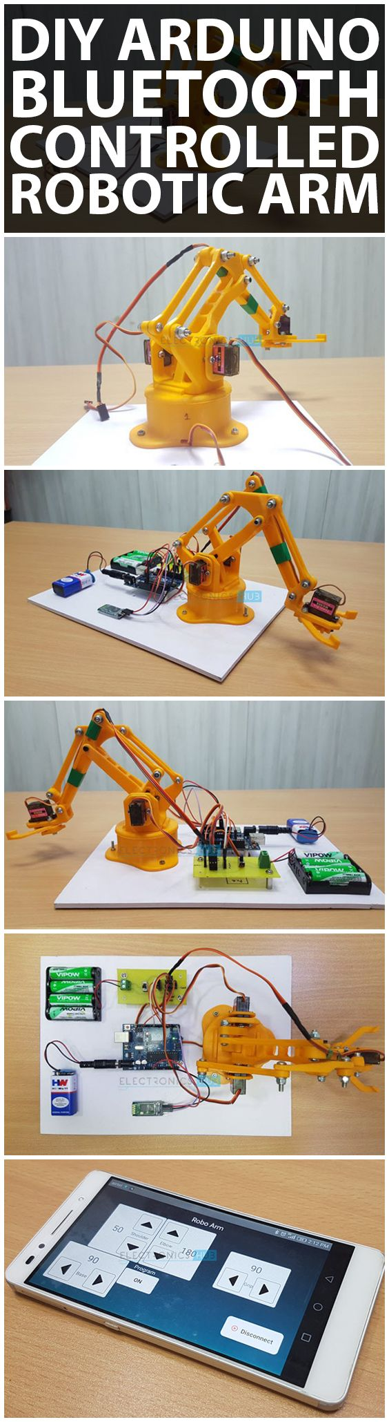 DIY Arduino & Bluetooth Controlled Robotic Arm Project with Circuit Diagram & Output