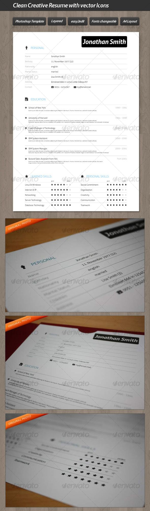 Clean Creative Resume with Vector Icons 39