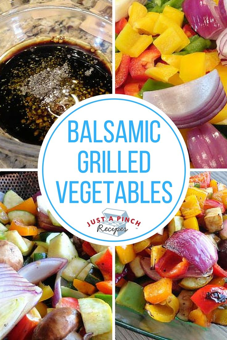 """Veggies marinated in balsamic vinegar and soy sauce and cooked in a grill basket until smoky, slightly charred and tender-crisp. A healthy and tasty side dish! Try it with whatever veggies you prefer - asparagus, eggplant, green beans, etc!"""