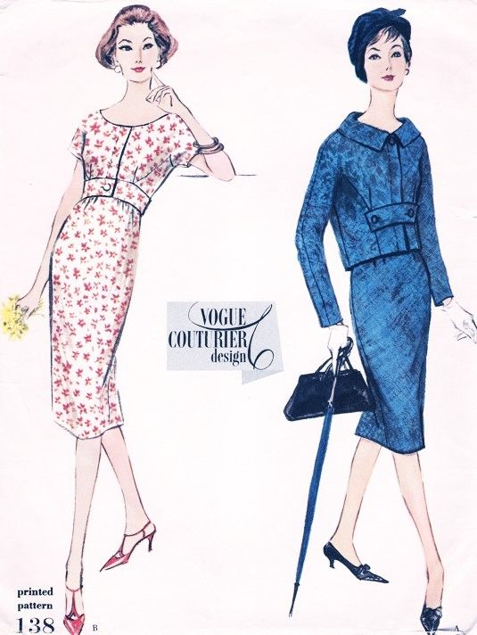 50s CHIC Slim Cocktail Dress and Jacket Pattern VOGUE COUTURIER Design 138 Very Pretty Style Bust 34 Vintage Sewing Pattern