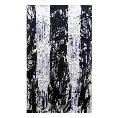 """""""Weep"""", mixed media abstract painting and drawing on matte white python skin by New York City artist Jake Blake.  Blake uses an austere palette of black, white, and grey combining bold brush strokes, heavy layering, and deft, elegant drawing to create depth."""