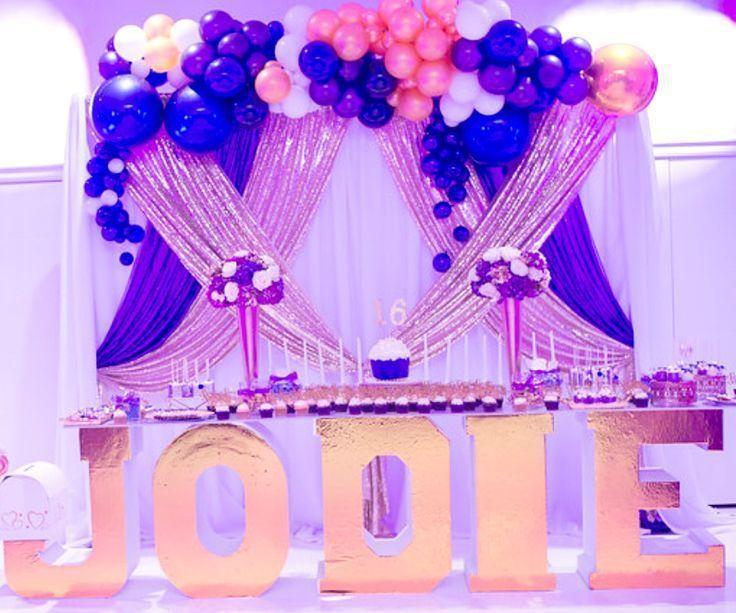 Purple And Gold Sweet 16 Backdrop Balloon Garland Backdrop