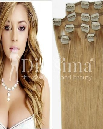 Blond Mediu Clip-On Par Natural