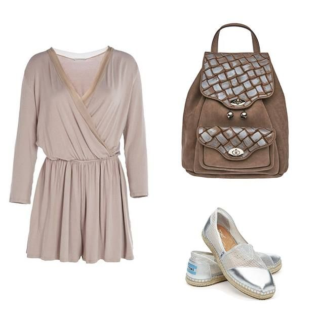 Shades of Harmony. We are loving these earthy, neutral palettes! #OOTD Dress by Maraveya, Metallic Mesh Shoes by TOMS, and cool two toned leather backpack by Contessina Exclusive! www.wecreateharmony.com