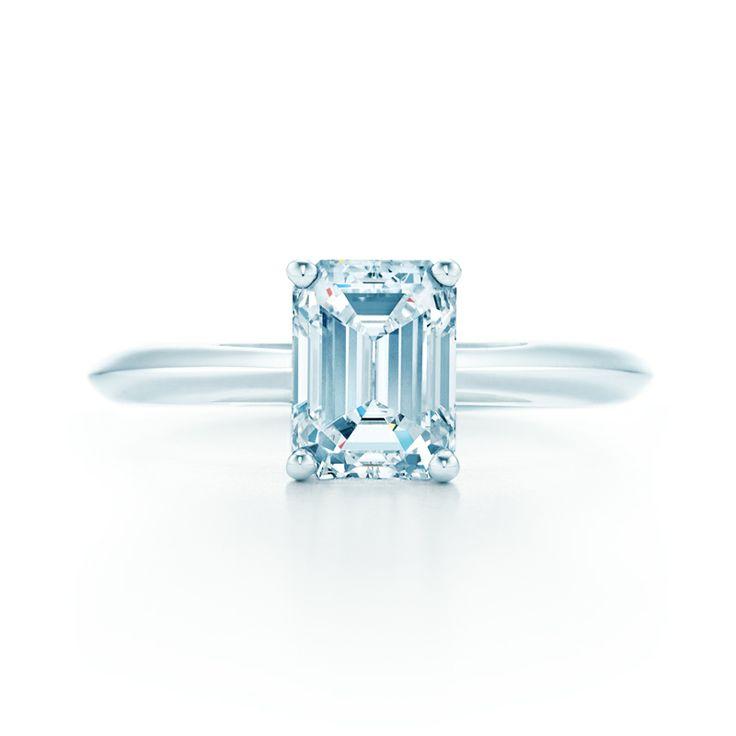 A Tiffany engagement ring with an emerald-cut diamond. #TiffanyPinterest #TiffanyWeddings