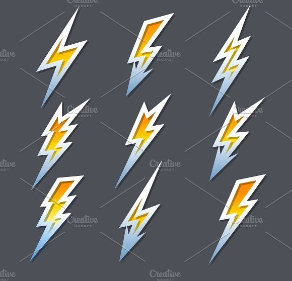 lightning bolts or electricity icons by Microvector on @creativemarket