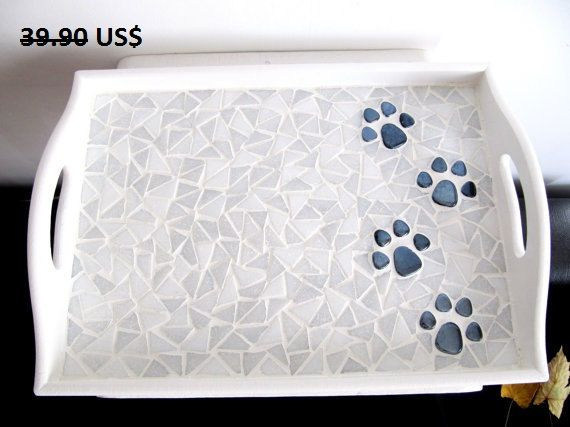 Cat Paws Tray Cat Lover Serving Tray Mosaic Tray Wood by byGuls