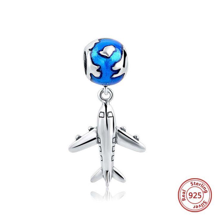 Aereo di linea con mondo in smalto blu ciondolo 100% argento sterling 925 adatta a braccialetto stile europeo e collane e pandora bead charm di OceanBijoux su Etsy