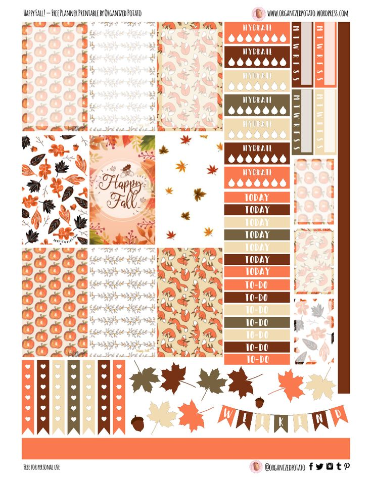 Free Printable Happy Fall Planner Stickers from Organized Potato