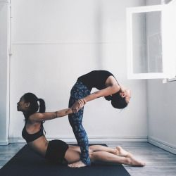 """sassyyogi: """" Kickstarted the first day of our #WeAreBetterStronger 10 Day Challenge strong with some team practice this morning, ft partner stretching with @sandrarileytang (Instagram: @sassyyogi) (at The Yoga Co.) """""""
